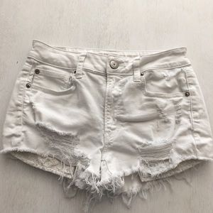 American Eagle High Rise Distressed Shortie Shorts